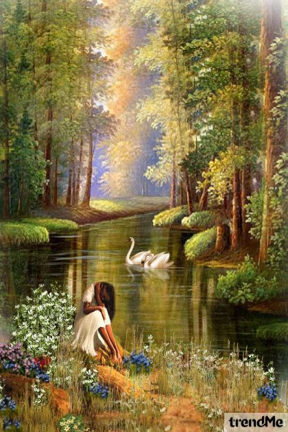 Alone Girl By The River from collection Let's Be Creative! by Mirna M