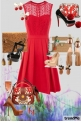 Red dress - shoes/bag/earings