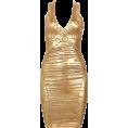 My Lulu Closet Dresses -  Gold Striped Foil Print Bandag Dresses