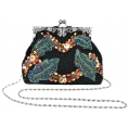 MG Collection Hand bag -  Antique Handmade Seed Beaded Leaf Rhinestone Encrushed Kiss Clasp Frame Soft Clutch Evening Bag Handbag Purse with Detachable Shoulder Chain Black