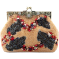 MG Collection Hand bag -  Antique Handmade Seed Beaded Leaf Rhinestone Encrushed Kiss Clasp Frame Soft Clutch Evening Bag Handbag Purse with Detachable Shoulder Chain Camel
