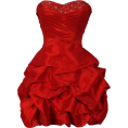 PacificPlex - Beaded Taffeta Party Mini Bubble Dress Prom Holiday Red - Dresses - $99.99