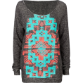 Full Tilt - FULL TILT Navajo Screen Womens Sweatshirt Black Heather - Cardigan - $24.99