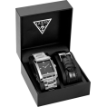 GUESS - GUESS Stainless Steel/Black Leather Boxed Watc - Watches - $110.00