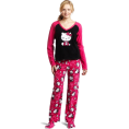 Hello Kitty - Hello Kitty Women's 3 Piece V-Neck Pajama Set with Slipper Pink - Pigiame - $29.40  ~ 22.20€