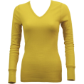 FineBrandShop Long sleeves t-shirts -  Ladies Yellow Long Sleeve Thermal Top V-Neck