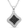D-GOLD - Platinum Plated Sterling Silver Round Diamond Black And White Square Fashion Pendant (1/3 cttw) - Pendants - $119.00