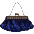 PacificPlex - Pleated Satin Evening Clutch Bag With Crystals Blue - Clutch bags - $34.99