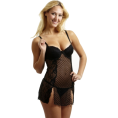 Rampage Underwear -  Rampage Heart Mesh Baby Doll with Thong Black
