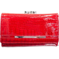 FineBrandShop Wallets -  Red Glossy Croc Embossed Tri-Fold Snap Wallet