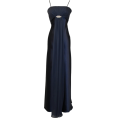 PacificPlex - Satin & Chiffon Long Formal Bridesmaid Gown Prom Dress w/ Spaghetti Straps Deco Crystal Pin Junior Plus Size Navy - Dresses - $79.99