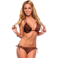 Hot from Hollywood Swimsuit -  Sexy Halter Neck Triangle Mesh Print Two Piece String Hot Bikini Brown Tie Dye Print