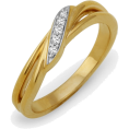 D-GOLD - Sterling Silver Yellow Plated Round Diamond Twisted Fashion Ring (1/20 cttw) - Rings - $39.50