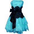 PacificPlex - Strapless Bustier Contrast Lace and Crinoline Ruffle Prom Mini Dress Junior Plus Size Turquoise/Black - sukienki - $96.99  ~ 72.52€