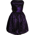 PacificPlex - Strapless Lace Overlay Satin Bubble Prom Dress Black-Purple - Dresses - $99.99