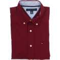 Tommy Hilfiger Long sleeves shirts -  Tommy Hilfiger Mens Classic Fit Long Sleeve Logo Button Front Shirt Burgundy