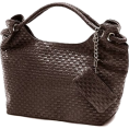 MG Collection Torbice -  VONETTA Brown Embossed Woven Large Hobo Double Handles Shoulder Bag Satchel Handbag Purse w/Mini Bag