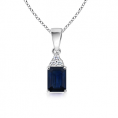Angara Necklaces -  Emerald Cut Sapphire and Diamond Pendant in White Gold 14K
