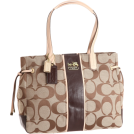 COACH Bag -  Coach Chelsea Signature Stripe Charlie Bag Khaki Mahogany