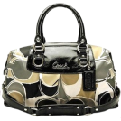 COACH Bag -  Coach Signature Sateen Scarf Print Hand Drawn Ashley Satchel Convertiable Bag Purse 17650 Multi