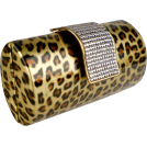 MG Collection Clutch bags -  Animal Print Rhinestone Closure Hard Case Baguette Evening Clutch Purse w/Detachable Chain Gold
