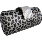 MG Collection Clutch bags -  Animal Print Rhinestone Closure Hard Case Baguette Evening Clutch Purse w/Detachable Chain Grey