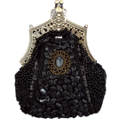 MG Collection Clutch bags -  Antique Victorian Applique Plated Brooch Beaded Clasp Purse Clutch Evening Handbag w/2 Detachable Chains Black