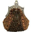 MG Collection Clutch bags -  Antique Victorian Applique Plated Brooch Beaded Clasp Purse Clutch Evening Handbag w/2 Detachable Chains Brown