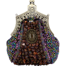 MG Collection Clutch bags -  Antique Victorian Applique Plated Brooch Beaded Clasp Purse Clutch Evening Handbag w/2 Detachable Chains Purple