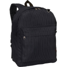 PacificPlex Mochilas -  Back to School Pinstriped Black Backpack School Bag Black