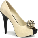 Pin Up Couture Sandals -  Beige Faux Suede Sexy Peep Toe Platform Pump - 6
