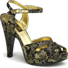 Pin Up Couture Sandals -  Black And Gold Fabric Platform Sandal - 10