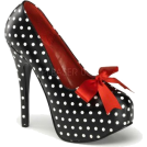 Pin Up Couture Platforms -  Black And White Polka Dot Platform Pump With Bow - 10