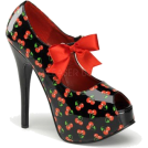 Pin Up Couture Sandals -  Black Cherry Print Open Toe Mary Jane Pump - 8