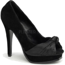 Pin Up Couture Sandals -  Black Faux Suede Open Toe Platform Pump - 10