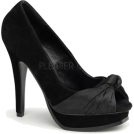 Pin Up Couture Sandals -  Black Faux Suede Open Toe Platform Pump - 11