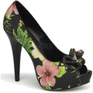 Pin Up Couture Sandals -  Black Floral Sexy Peep Toe Platform Pump - 8
