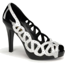 Pin Up Couture Sandals -  Black Patent Peep Toe Cut Out Pump - 7