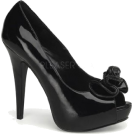 Pin Up Couture Sandals -  Black Patent Sexy Peep Toe Platform Pump - 5