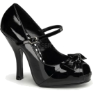 Pin Up Couture Sandals -  Black Peep Toe Mary Jane Pump - 10