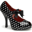 Pin Up Couture Sandals -  Black Polka Dot Open Toe Mary Jane Pump - 11