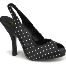 Pin Up Couture Sandals -  Black Polka Dot Peep Toe Slingback Sandal - 7