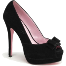 Pin Up Couture Sandals -  Black Suede Peep Toe Pump With Bow Accent - 10
