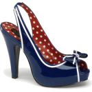 Pin Up Couture Sandals -  Blue Patent Slingback Platform Sandal - 9