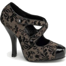 Pin Up Couture Platforms -  Brown Tweed Criss Cross Platform Pump - 7