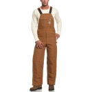 Carhartt Grembiule -  Carhartt Men's Quilt Lined Duck Zip-To-Thigh Bib Overall Brown
