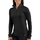 Carhartt Long sleeves t-shirts -  Carhartt WK121 Women's Quarter-Zip Thermal Knit Black
