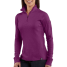 Carhartt Long sleeves t-shirts -  Carhartt WK121 Women's Quarter-Zip Thermal Knit Bright Purple
