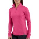 Carhartt Long sleeves t-shirts -  Carhartt WK121 Women's Quarter-Zip Thermal Knit Morning Rose