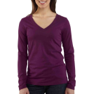 Carhartt Long sleeves t-shirts -  Carhartt Women's Lightweight Long Sleeve V-Neck Tshirt, Heather Gray, X-Large Bright Purple Heather